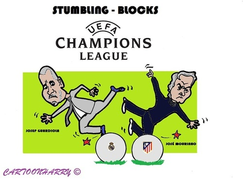 Cartoon: Champions League (medium) by cartoonharry tagged championsleague,soccer,guardiola,mourinho,realmadrid,atleticomadrid