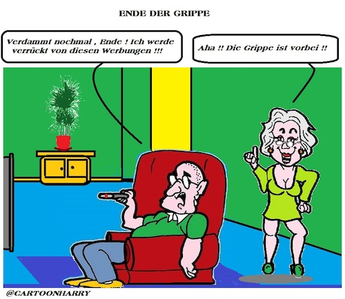 Cartoon: Die Grippe (medium) by cartoonharry tagged grippe,besser,tv