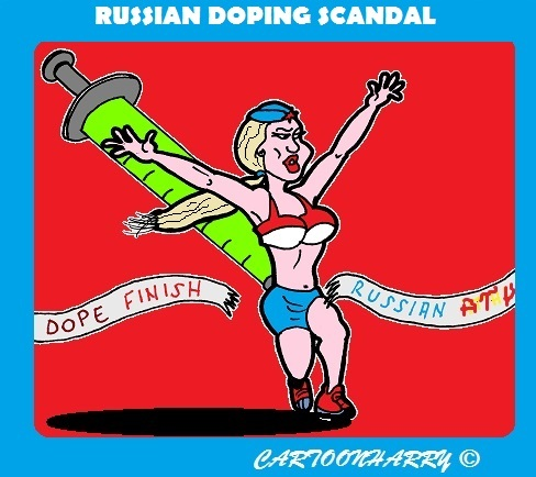Cartoon: Doping Scandal (medium) by cartoonharry tagged sports,doping,athletics,russians