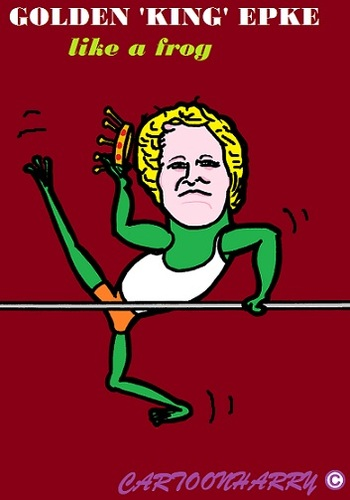Cartoon: Epke Zonderland (medium) by cartoonharry tagged bar,gold,epkezonderland,epke,frog,olympics,athleticgym,caricature,cartoon,cartoonist,cartoonharry,dutch,holland,toonpool