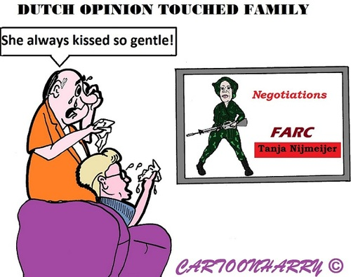 Cartoon: Farc (medium) by cartoonharry tagged farc,colombia,tanjanijmeijer,alexandra,negotiations,terrorist,parents,sad,cartoon,cartoonist,cartoonharry,dutch,toonpool