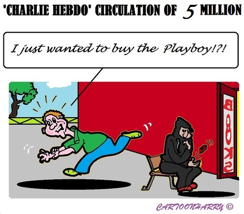 Cartoon: Five Million Charlie Hebdo (medium) by cartoonharry tagged europe,charlie,hebdo,circulation,millions