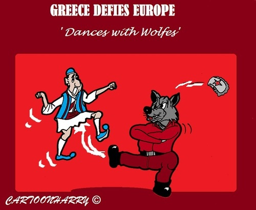 Cartoon: Greece Today (medium) by cartoonharry tagged greece,europe,russia,wolfe,unreliable