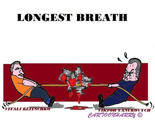 Cartoon: Longest Breath (medium) by cartoonharry tagged ukraine,klitschkov,yanukovich,pull,breath,crisis