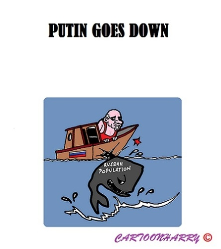 Cartoon: Putins Panic (medium) by cartoonharry tagged russia,putin,dictator,protest,panic