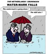 Cartoon: Water-Mark Falls (small) by cartoonharry tagged water,economy,holland,groningen,aex,cartoon,fellows,cartoonist,cartoonharry,dutch,toonpool