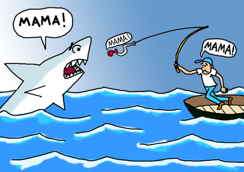 Cartoon: Angst (medium) by Pascal Kirchmair tagged jaws,la,de,dents,les,paura,mer,haute,en,peche,fear,bleue,peur,angst,angler,angeln,angling,sea,nahrungskette,fischer,hochseefischen,alimentare,catena,alimentaire,chaine,chain,food,pointer,shark,white,bianco,squalo,great,blanc,requin,grand,hai,weisser