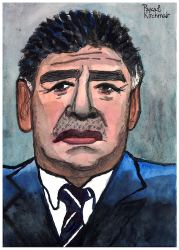 Cartoon: Diego Armando Maradona (medium) by Pascal Kirchmair tagged diego,armando,maradona,caricature,caricatura,karikatur,portrait,retrato,drawing,dibujo,pascal,kirchmair,desenho,argentina,ritratto,disegno,zeichnung,aquarell,watercolour,watercolor,tekening,cartum,cartoon,illustration,ilustracao,ilustracion,illustrazione,dessin,illustratie,noodlers,ink,diego,armando,maradona,caricature,caricatura,karikatur,portrait,retrato,drawing,dibujo,pascal,kirchmair,desenho,argentina,ritratto,disegno,zeichnung,aquarell,watercolour,watercolor,tekening,cartum,cartoon,illustration,ilustracao,ilustracion,illustrazione,dessin,illustratie,noodlers,ink
