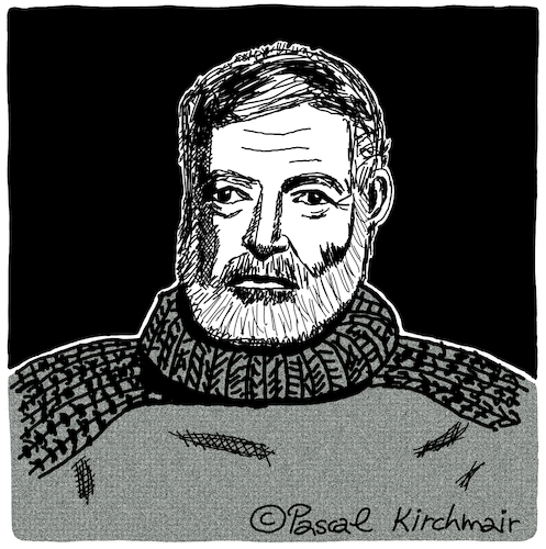 Cartoon: Ernest Hemingway (medium) by Pascal Kirchmair tagged ernest,miller,hemingway,karikatur,portrait,caricature,retrato,dibujo,drawing,dessin,desenho,porträt,cartoon,zeichnung,ritratto,caricatura,portret,tekening,usa,ernest,miller,hemingway,karikatur,portrait,caricature,retrato,dibujo,drawing,dessin,desenho,porträt,cartoon,zeichnung,ritratto,caricatura,portret,tekening,usa