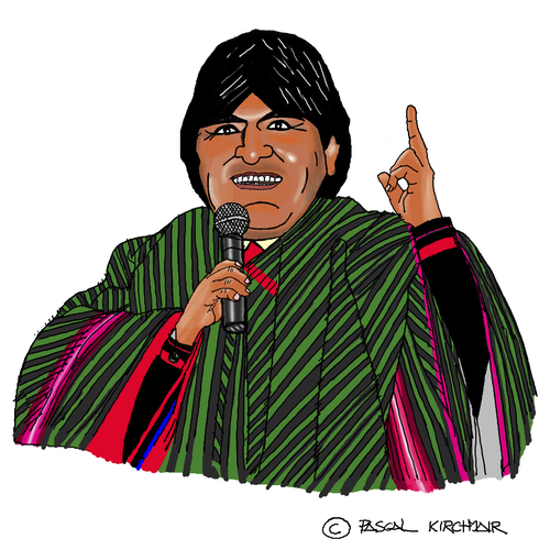 Cartoon: Evo Morales (medium) by Pascal Kirchmair tagged evo,morales,präsident,president,bolivia,bolivien,cartoon,caricature,karikatur,dessin,humoristique,humor