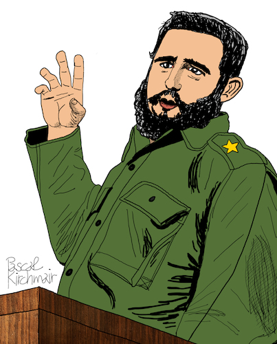 Cartoon: Fidel Castro (medium) by Pascal Kirchmair tagged fidel,alejandro,castro,ruz,cuba,libre,kuba,havanna,illustration,drawing,zeichnung,pascal,kirchmair,political,cartoon,caricature,karikatur,ilustracion,dibujo,desenho,ink,disegno,ilustracao,illustrazione,illustratie,dessin,de,presse,du,jour,art,of,the,day,tekening,teckning,cartum,vineta,comica,vignetta,caricatura,portrait,retrato,ritratto,portret,kunst,paris,france,president,politiker,politician,politics,präsident,revolution,revolucion,speech,rede,comandante,en,jefe,fidel,alejandro,castro,ruz,cuba,libre,kuba,havanna,illustration,drawing,zeichnung,pascal,kirchmair,political,cartoon,caricature,karikatur,ilustracion,dibujo,desenho,ink,disegno,ilustracao,illustrazione,illustratie,dessin,de,presse,du,jour,art,of,the,day,tekening,teckning,cartum,vineta,comica,vignetta,caricatura,portrait,retrato,ritratto,portret,kunst,paris,france,president,politiker,politician,politics,präsident,revolution,revolucion,speech,rede,comandante,en,jefe