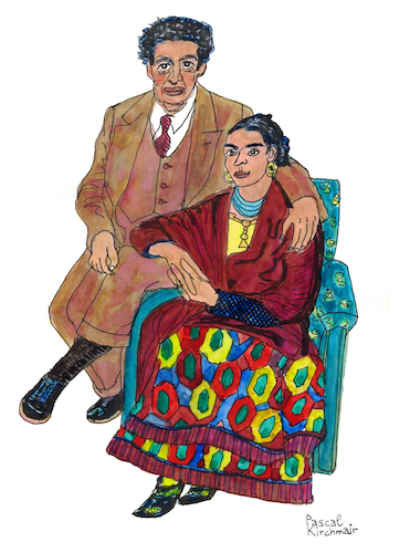 Cartoon: Frida Kahlo and Diego Rivera (medium) by Pascal Kirchmair tagged frida,kahlo,diego,rivera,cartoon,painting,zeichnung,desenho,caricature,illustration,ilustracion,pascal,kirchmair,portrait,retrato,ritratto,drawing,dibujo,disegno,ilustracao,illustrazione,illustratie,dessin,du,jour,art,of,the,day,tekening,teckning,cartum,vineta,comica,vignetta,caricatura,karikatur,aquarell,watercolour,watercolor,ink,cuadro,quadro,immagine,image,bild,imagen,imagem,pintura,pittura,arte,dipinto,frida,kahlo,diego,rivera,cartoon,painting,zeichnung,desenho,caricature,illustration,ilustracion,pascal,kirchmair,portrait,retrato,ritratto,drawing,dibujo,disegno,ilustracao,illustrazione,illustratie,dessin,du,jour,art,of,the,day,tekening,teckning,cartum,vineta,comica,vignetta,caricatura,karikatur,aquarell,watercolour,watercolor,ink,cuadro,quadro,immagine,image,bild,imagen,imagem,pintura,pittura,arte,dipinto