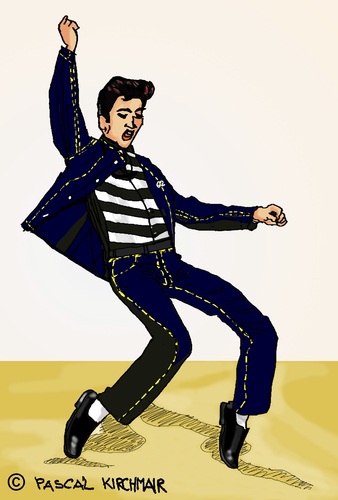 Cartoon: Jailhouse Rock (medium) by Pascal Kirchmair tagged illustration,elvis,presley,jailhouse,rock,cartoon,vignetta,karikatur,caricature,pelvis,drawing,zeichnung,digital