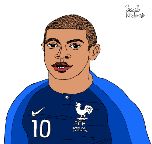 Cartoon: Kylian Mbappe (medium) by Pascal Kirchmair tagged kylian,mbappe,cartoon,caricature,karikatur,ilustracion,illustration,pascal,kirchmair,desenho,drawing,zeichnung,dibujo,disegno,ilustracao,illustrazione,illustratie,dessin,de,presse,du,jour,art,of,the,day,tekening,teckning,cartum,vineta,comica,vignetta,caricatura,humor,humour,portrait,retrato,ritratto,portret,porträt,artiste,artista,artist,künstler,paris,france,psg,saint,germain,weltmeister,world,cup,2018,russia,champion,monde,foot,football,futebol,futbol,soccer,kylian,mbappe,cartoon,caricature,karikatur,ilustracion,illustration,pascal,kirchmair,desenho,drawing,zeichnung,dibujo,disegno,ilustracao,illustrazione,illustratie,dessin,de,presse,du,jour,art,of,the,day,tekening,teckning,cartum,vineta,comica,vignetta,caricatura,humor,humour,portrait,retrato,ritratto,portret,porträt,artiste,artista,artist,künstler,paris,france,psg,saint,germain,weltmeister,world,cup,2018,russia,champion,monde,foot,football,futebol,futbol,soccer