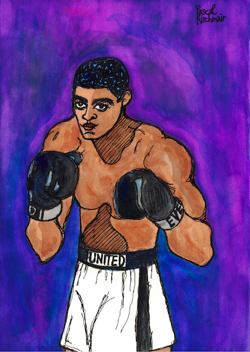 Cartoon: Muhammad Ali (medium) by Pascal Kirchmair tagged world,heavyweight,champion,the,greatest,of,all,time,boxer,cassius,clay,muhammad,ali,illustration,drawing,zeichnung,pascal,kirchmair,cartoon,caricature,karikatur,ilustracion,dibujo,desenho,ink,disegno,ilustracao,illustrazione,illustratie,dessin,de,presse,du,jour,art,day,tekening,teckning,cartum,vineta,comica,vignetta,caricatura,portrait,retrato,ritratto,portret,painting,watercolor,watercolour,arte,aquarell,world,heavyweight,champion,the,greatest,of,all,time,boxer,cassius,clay,muhammad,ali,illustration,drawing,zeichnung,pascal,kirchmair,cartoon,caricature,karikatur,ilustracion,dibujo,desenho,ink,disegno,ilustracao,illustrazione,illustratie,dessin,de,presse,du,jour,art,day,tekening,teckning,cartum,vineta,comica,vignetta,caricatura,portrait,retrato,ritratto,portret,painting,watercolor,watercolour,arte,aquarell
