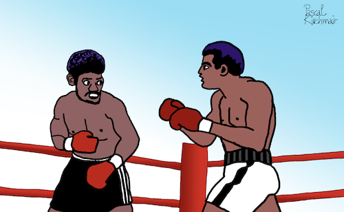 Cartoon: Muhammed Ali vs. Leon Spinks (medium) by Pascal Kirchmair tagged boxer,muhammed,ali,cassius,clay,leon,spinks,boxeur,boxing,heavy,weight,championship,dibuix,illustration,drawing,zeichnung,pascal,kirchmair,cartoon,caricature,karikatur,ilustracion,dibujo,desenho,ink,disegno,ilustracao,illustrazione,illustratie,dessin,de,presse,du,jour,art,of,the,day,tekening,teckning,cartum,vineta,comica,vignetta,caricatura,champion,schwergewicht,schwergewichtsweltmeister,boxeador,pugil,pugilista,pugile,pugilatore,boxer,muhammed,ali,cassius,clay,leon,spinks,boxeur,boxing,heavy,weight,championship,dibuix,illustration,drawing,zeichnung,pascal,kirchmair,cartoon,caricature,karikatur,ilustracion,dibujo,desenho,ink,disegno,ilustracao,illustrazione,illustratie,dessin,de,presse,du,jour,art,of,the,day,tekening,teckning,cartum,vineta,comica,vignetta,caricatura,champion,schwergewicht,schwergewichtsweltmeister,boxeador,pugil,pugilista,pugile,pugilatore