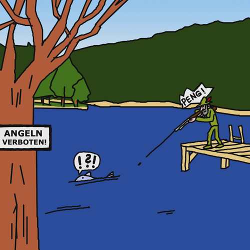 Cartoon: No Fishing (medium) by Pascal Kirchmair tagged pesca,di,divieto,interdite,peche,pecher,chasser,chasseur,fischer,fisher,jäger,verboten,fishing,no,fischen,angeln,cartoon