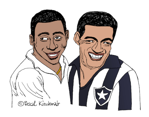 Cartoon: Pele and Garrincha (medium) by Pascal Kirchmair tagged brazil,santos,fc,brasil,bresil,brasilen,brasile,pele,rio,de,janeiro,garrincha,manuel,francisco,dos,edson,arantes,do,nascimento,dibuix,illustration,drawing,zeichnung,pascal,kirchmair,cartoon,caricature,karikatur,ilustracion,dibujo,desenho,ink,disegno,ilustracao,illustrazione,illustratie,dessin,presse,du,jour,art,of,the,day,tekening,teckning,cartum,vineta,comica,vignetta,caricatura,champion,football,foot,soccer,fußball,futbol,futebol,botafogo,regatas,fr,brazil,santos,fc,brasil,bresil,brasilen,brasile,pele,rio,de,janeiro,garrincha,manuel,francisco,dos,edson,arantes,do,nascimento,dibuix,illustration,drawing,zeichnung,pascal,kirchmair,cartoon,caricature,karikatur,ilustracion,dibujo,desenho,ink,disegno,ilustracao,illustrazione,illustratie,dessin,presse,du,jour,art,of,the,day,tekening,teckning,cartum,vineta,comica,vignetta,caricatura,champion,football,foot,soccer,fußball,futbol,futebol,botafogo,regatas,fr