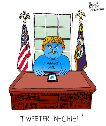 Cartoon: The Tweeter in Chief (medium) by Pascal Kirchmair tagged donald,trump,the,tweeter,in,chief,cartoon,caricature,karikatur,pascal,kirchmair,twitter,angry,bird,dibujo,desenho,drawing,zeichnung,illustration,ilustracion,portrait,retrato,ritratto,disegno,ilustracao,illustrazione,illustratie,dessin,du,jour,art,of,day,tekening,teckning,cartum,vineta,comica,vignetta,caricatura,donald,trump,the,tweeter,in,chief,cartoon,caricature,karikatur,pascal,kirchmair,twitter,angry,bird,dibujo,desenho,drawing,zeichnung,illustration,ilustracion,portrait,retrato,ritratto,disegno,ilustracao,illustrazione,illustratie,dessin,du,jour,art,of,day,tekening,teckning,cartum,vineta,comica,vignetta,caricatura
