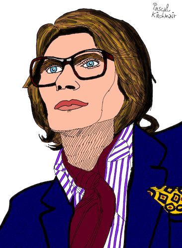 Cartoon: Yves Saint Laurent (medium) by Pascal Kirchmair tagged ysl,yves,saint,laurent,cartoon,caricature,karikatur,drawing,zeichnung,illustration,illustrazione,pascal,kirchmair,ilustracion,portrait,retrato,dibujo,desenho,ritratto,disegno,ilustracao,illustratie,dessin,du,jour,art,of,the,day,tekening,teckning,cartum,vineta,comica,vignetta,caricatura,artist,artista,artiste,kunst,künstler,wacom,cintiq,21,ux,digital,fashion,designer,mode,label,marke,paris,marque,france,couturier,francais,celebre,collection,haute,couture,ysl,yves,saint,laurent,cartoon,caricature,karikatur,drawing,zeichnung,illustration,illustrazione,pascal,kirchmair,ilustracion,portrait,retrato,dibujo,desenho,ritratto,disegno,ilustracao,illustratie,dessin,du,jour,art,of,the,day,tekening,teckning,cartum,vineta,comica,vignetta,caricatura,artist,artista,artiste,kunst,künstler,wacom,cintiq,21,ux,digital,fashion,designer,mode,label,marke,paris,marque,france,couturier,francais,celebre,collection,haute,couture