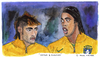 Cartoon: Neymar and Ronaldinho (small) by Pascal Kirchmair tagged neymar,ronaldinho,gaucho,selecao,karikatur,caricature,cartoon,foot,futebol,futbol,bresil,brasil,brazil,brasile,fußball,soccer,portrait,watercolour,aquarell