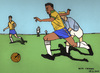 Cartoon: Pele (small) by Pascal Kirchmair tagged edison,arantes,do,nascimento,santos,new,york,cosmos,selecao,brasil,brasilien,bresil,brazil,pele