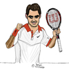 Cartoon: Roger Federer (small) by Pascal Kirchmair tagged sabr,sneak,attack,by,roger,federer,caricature,karikatur,vignetta,cartoon,dessin,us,open,2015,tennis,new,york,flushing,meadows,grand,slam,turnier