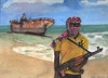 Cartoon: Somalischer Pirat (small) by Pascal Kirchmair tagged pirat,somalia,aquarell,watercolour