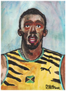 Cartoon: Usain Bolt (small) by Pascal Kirchmair tagged usain,bolt,jamaica,cartoon,caricature,portrait,illustration,pascal,kirchmair,karikatur,dibujo,desenho,disegno,cuadro,dessin,zeichnung,quadro,aquarell,watercolour