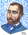 Cartoon: Vincent van Gogh (small) by Pascal Kirchmair tagged vincent,van,gogh,portrait,aquarell,karikatur,caricature,cartoon,vignetta,dessin,zeichnung