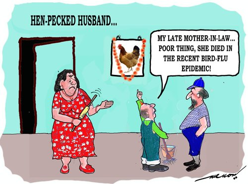 Cartoon: Henpecked (medium) by kar2nist tagged henpecked,husband,wife,family