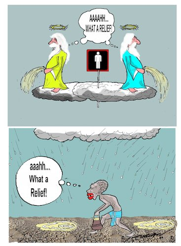 Cartoon: holy piss (medium) by kar2nist tagged holiness,rain,urinate,water,scarcity,parched,earth