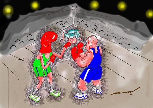 Cartoon: Knockout A Mission Impossible (medium) by kar2nist tagged boxingbouts,boxers,boxingring,gloves,boxing,knockout