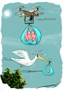 Cartoon: Drones Club (small) by kar2nist tagged drone,stork,babies,delivery,technology