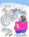 Cartoon: Have Bike  Will  Bike (small) by kar2nist tagged bike,motor,breakdown,determination,fat,women