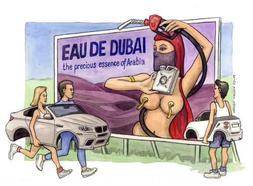 Cartoon: Eau de Dubai (medium) by Niessen tagged gasoline,dubai,cars,benzin,expensive,teuer