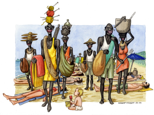 Cartoon: Vu Cumpra (medium) by Niessen tagged immigration,africa,hunger,italy,beach,summer,black