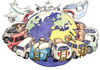 Cartoon: eat the world (small) by Niessen tagged world,eat,hunger,cars,planes,welt,essen,autos,flugzeuge,mondo,fame,mangiare,macchine