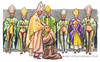 Cartoon: Il clero gaio (small) by Niessen tagged religiöse,bischof,priester,homosexuelle,unrein,tunika,beten