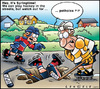Cartoon: Hockey street (small) by Carayboo tagged hockey,street,springtime,sport,pot,hole,player,game,stick,helmet,goal,target