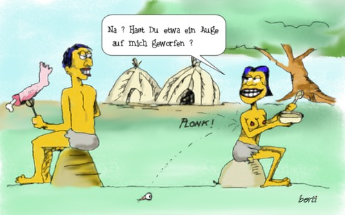 Cartoon: Unter Kannibalen (medium) by berti tagged auge,werfen,keep,eye,cannibalism