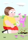Cartoon: Huch ?! (small) by berti tagged blumen,pflücken,pick,flowers,alien,inkscape
