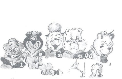 Cartoon: The Famous Bears (medium) by Zachary tagged bears,yogi,bear,winnie,the,pooh,football