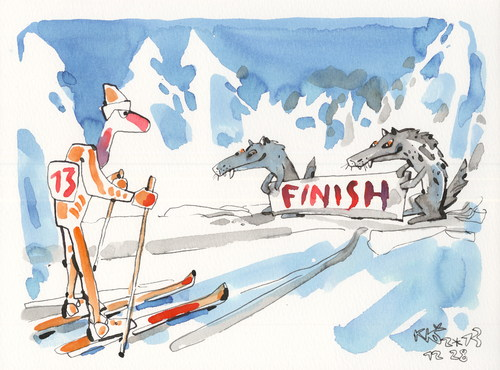Cartoon: Cross - country skiing. Finish (medium) by Kestutis tagged finish,cross,country,skiing,winter,sports,olympic,sochi,2014,wolf,snow,new,year,happy