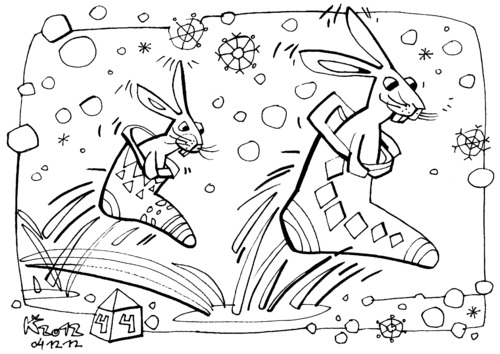 Cartoon: Racing to Santa Claus (medium) by Kestutis tagged christmas,weihnachten,hase,hare,schneeflocken,snowflakes,lithuania,kestutis,claus,santa,racing,yourself,color