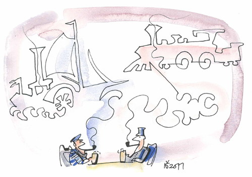 Cartoon: REMINISCENCES (medium) by Kestutis tagged reminiscences,friends,trains,ship,pipe,beer,bier