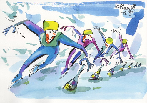 Cartoon: Speed Skating. Victory Champagne (medium) by Kestutis tagged speed,skating,winter,sports,olympic,sochi,2014,ice,champagne,victory