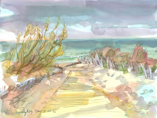 Cartoon: The path to the sea. Palanga (medium) by Kestutis tagged sea,watercolor,meer,aquarell,kestutis,siaulytis,lithuania,ostsee,the