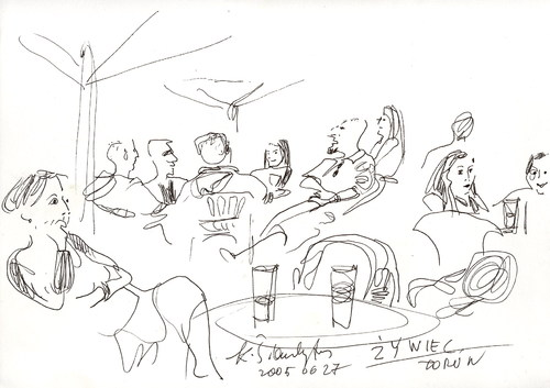 Cartoon: Torun. Evening. Street cafe (medium) by Kestutis tagged summer,sketch,poland,cafe,street,evening,kestutis