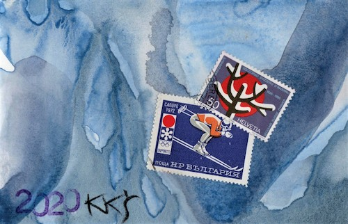 Cartoon: Winter sport (medium) by Kestutis tagged winter,sport,postcard,art,postage,stamp,briefmarke,kestutis,lithuania